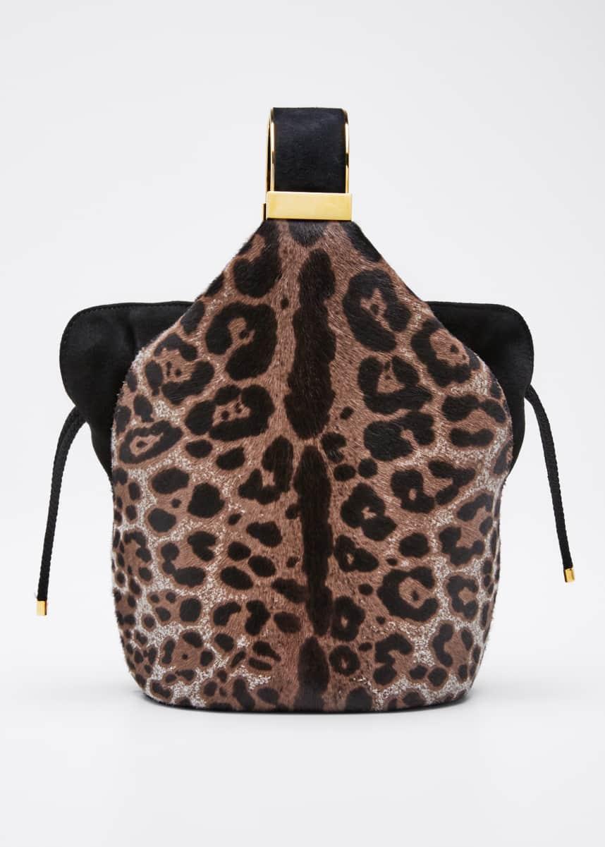 Bienen Davis Kit Snow Leopard Calf Hair Bucket Bag