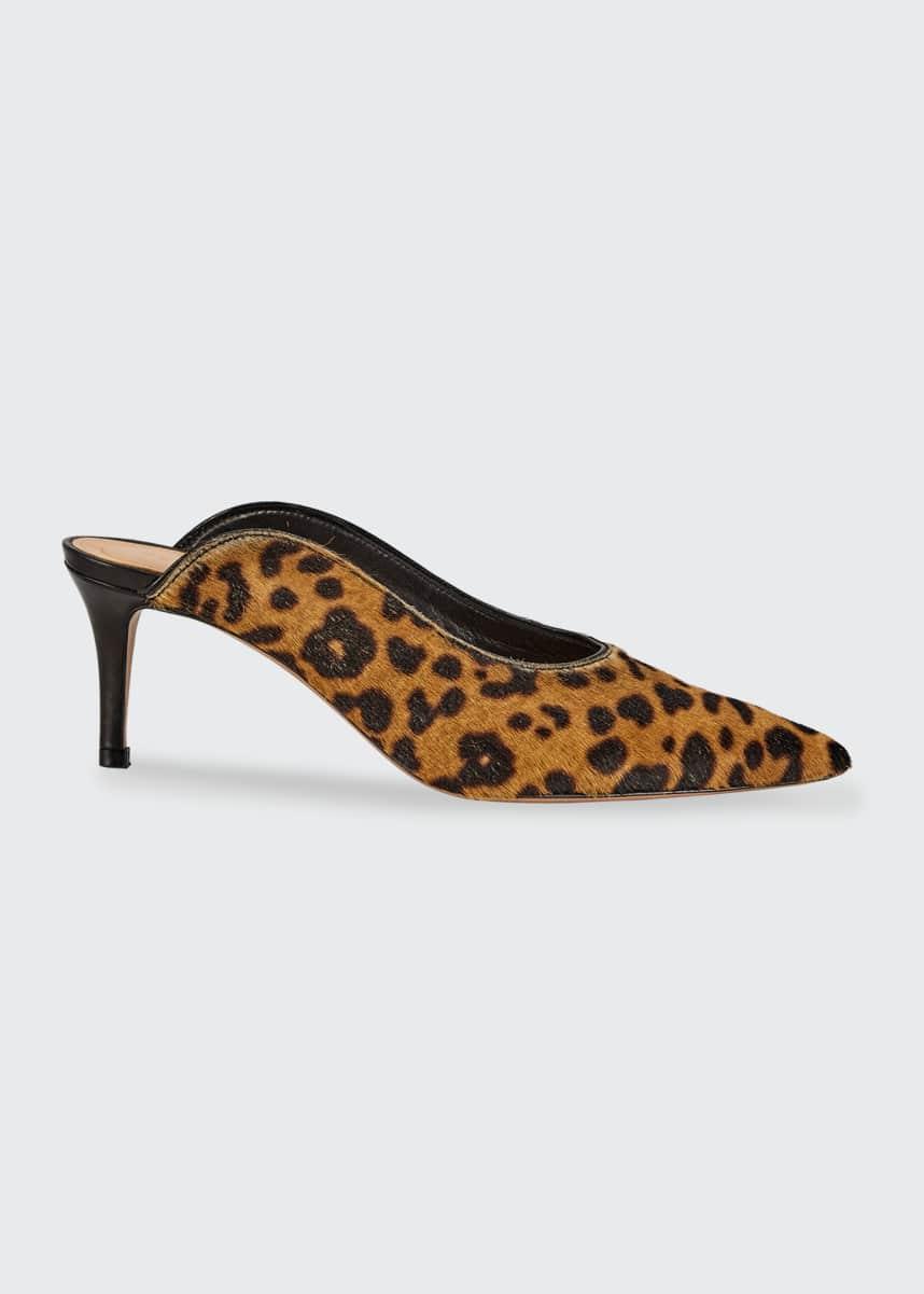 Veronica Beard Taran Leopard-Print Mules