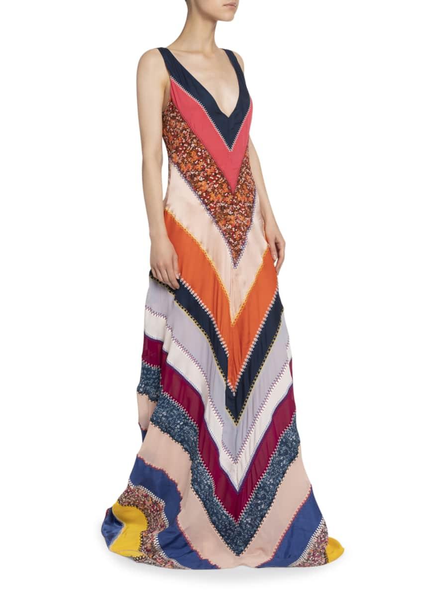 Altuzarra Chevron Striped Patchwork V-Neck Sleeveless Silk A-Line Gown