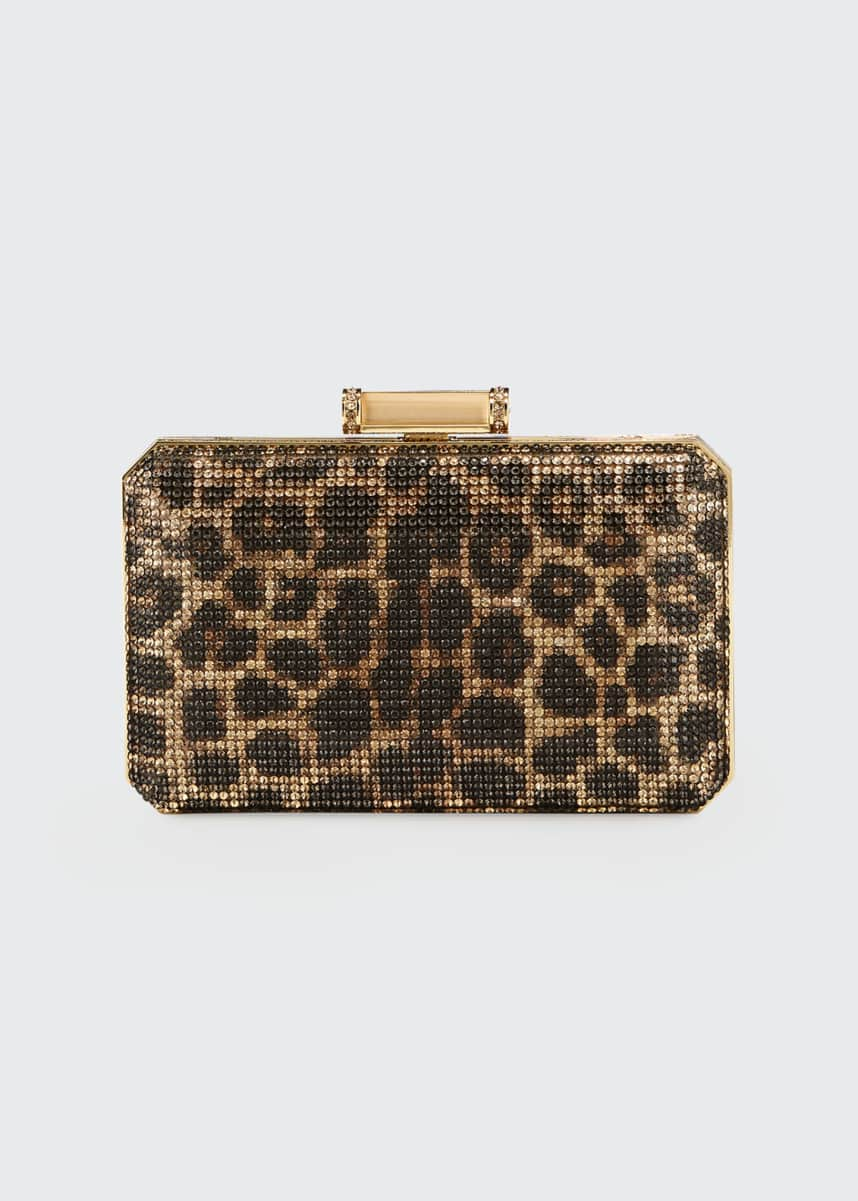 Judith Leiber Couture Soho Leopard Crystal Clutch Bag