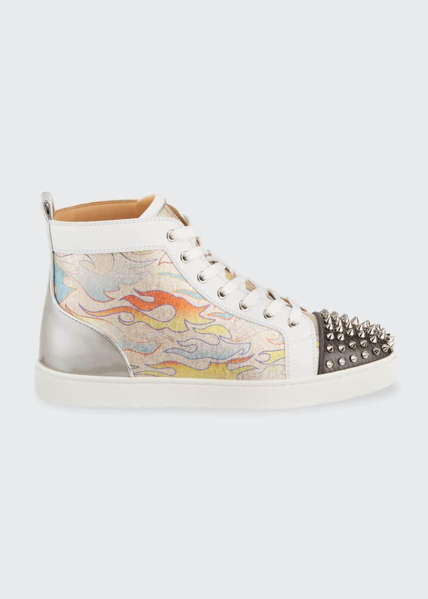 Christian Louboutin Men's Lou Spikes Orlato Flame High-Top Sneakers