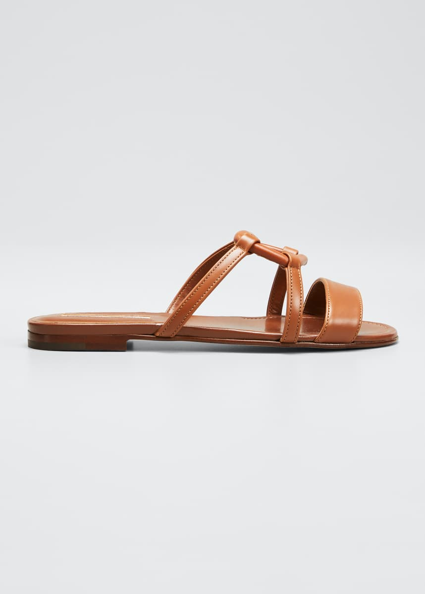 Manolo Blahnik Oratasa Flat Leather Slide Sandals