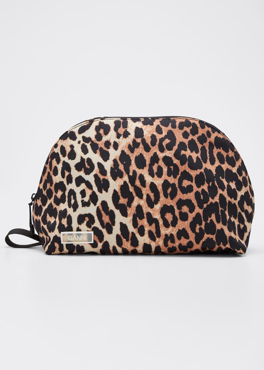 Ganni Leopard Nylon Cosmetic Case