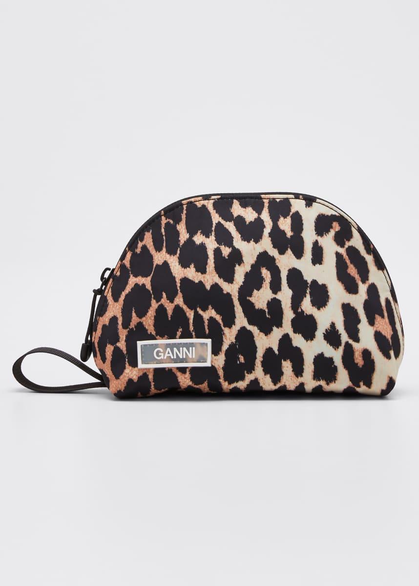 Ganni Nylon Leopard Mini Cosmetic Bag