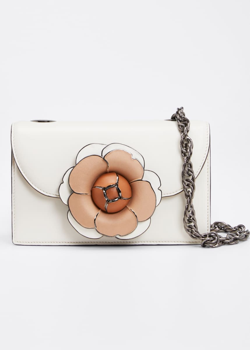 Oscar de la Renta Tro Flower Leather Shoulder Bag