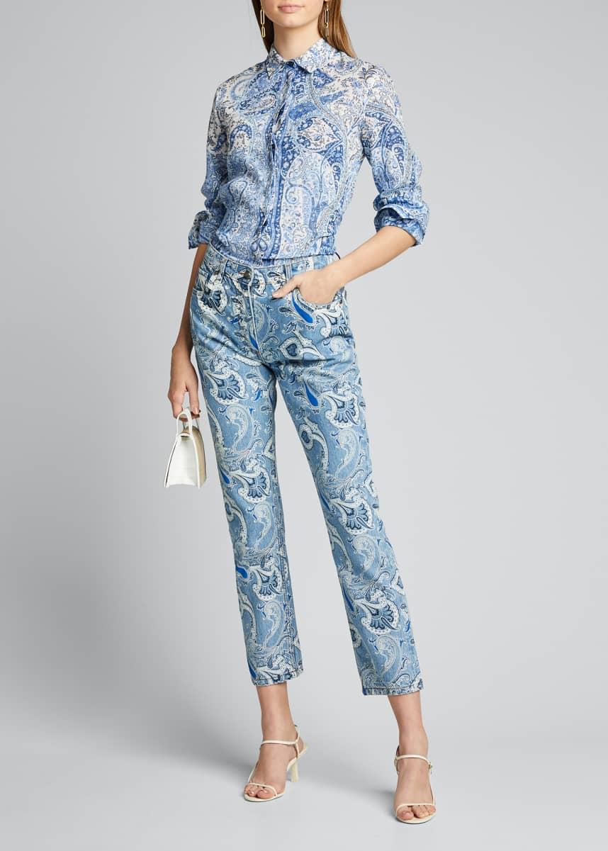 Etro Paisley Two-Tone Skinny Jeans