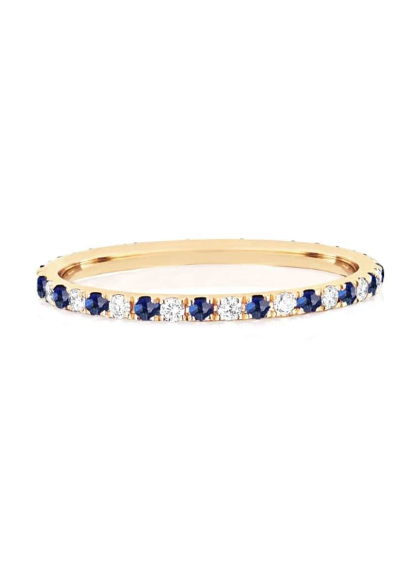 EF Collection 14k Gold Diamond and Blue Sapphire Eternity Ring, Size 5-7