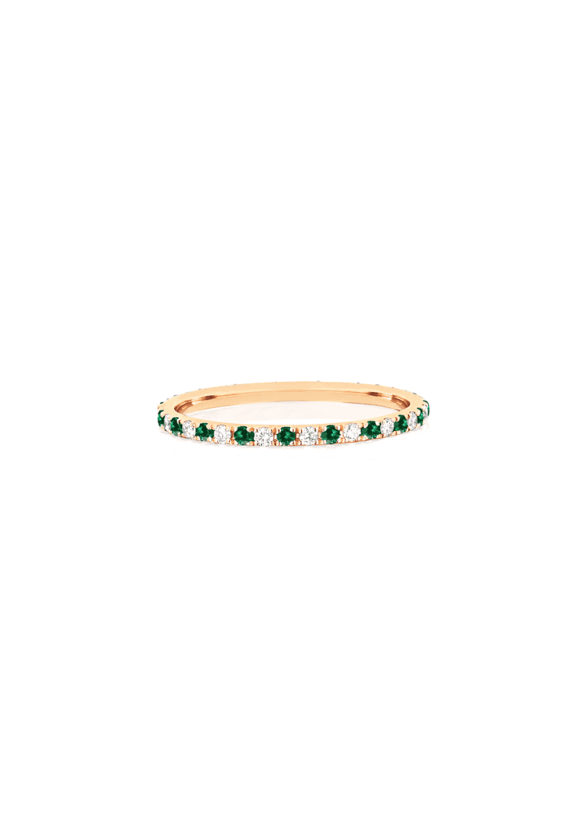 EF Collection 14k Diamond and Tsavorite Eternity Ring, Size 5-7