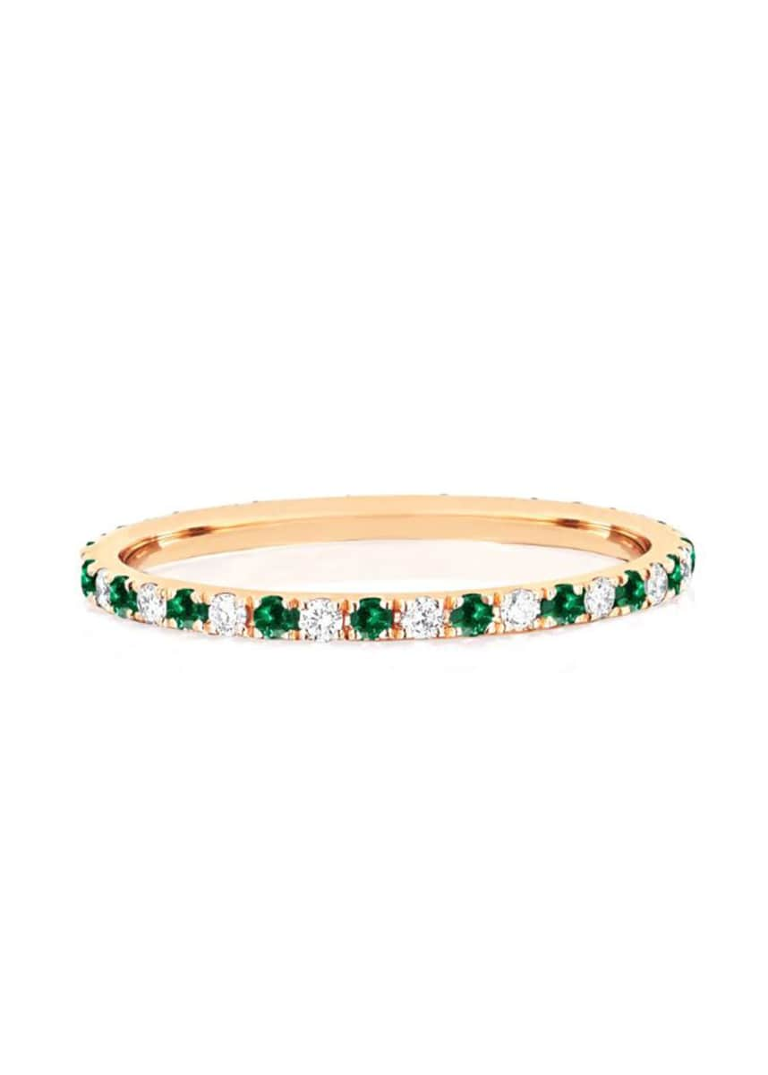 EF Collection 14k Diamond and Tsavorite Eternity Ring, Size 5 and 7