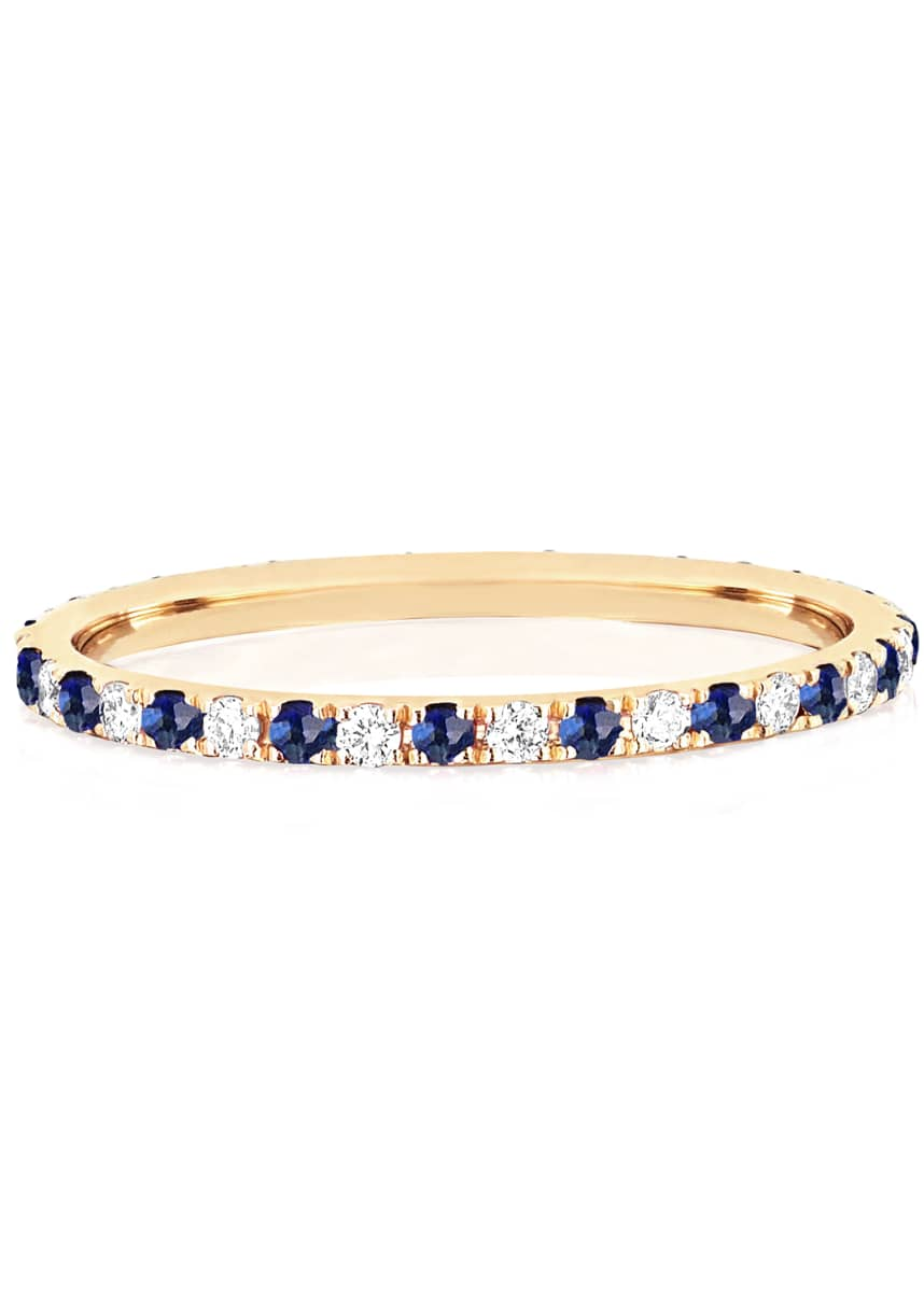 EF Collection 14k Gold Diamond and Blue Sapphire Eternity Ring, Size 5 and 7