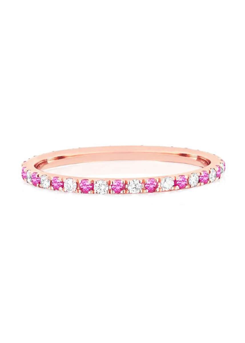 EF Collection 14k Rose Gold Diamond and Pink Sapphire Eternity Ring, Size 5 and 7