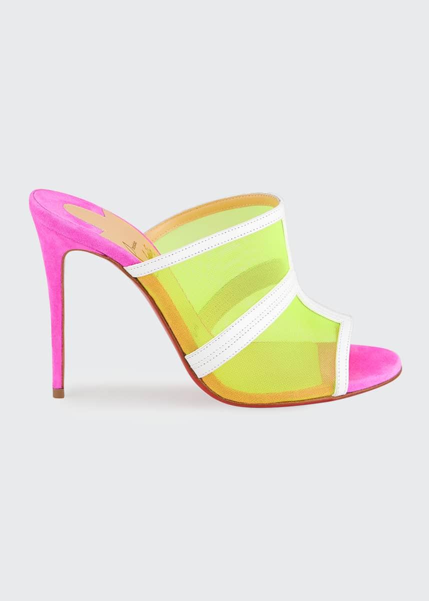 Christian Louboutin Interdite Neon Mesh Red Sole Mule Sandals