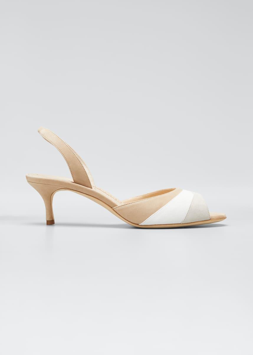 Manolo Blahnik Meteora 50mm Tricolor Suede Slingback Sandals
