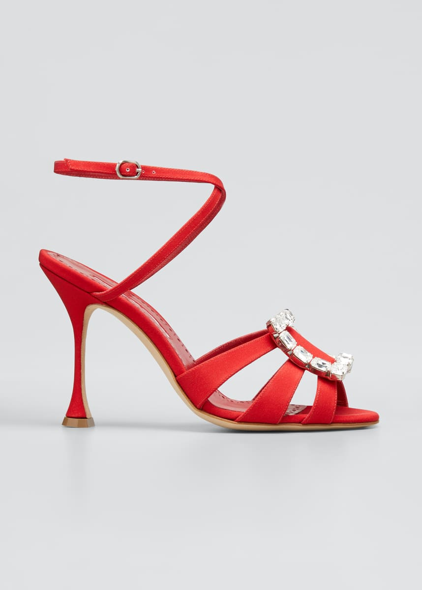 Manolo Blahnik Ticuna Buckle Strappy Sandals