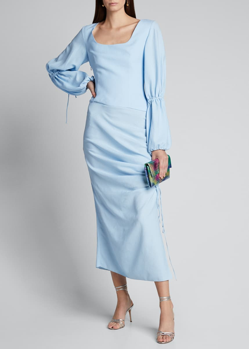 Materiel Draped Lantern-Sleeve Dress