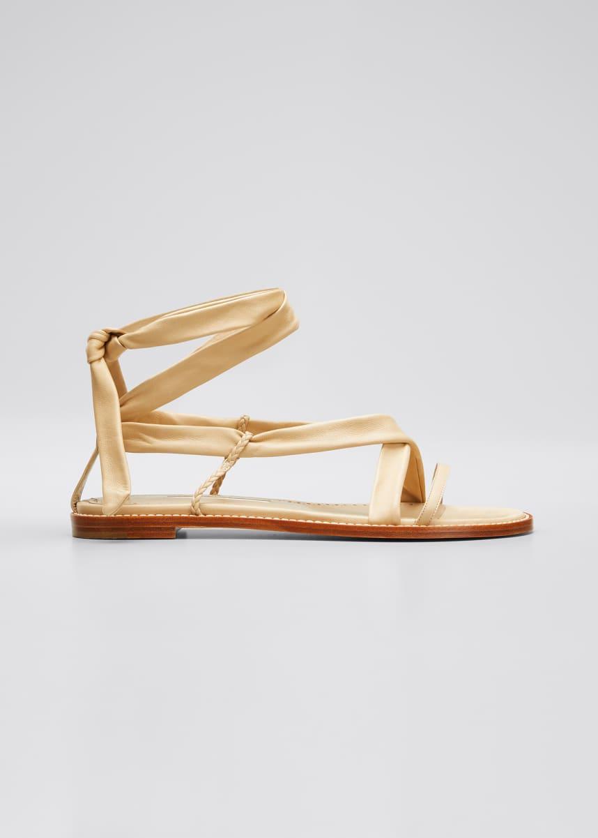 Manolo Blahnik Torflat Leather Tie Sandals