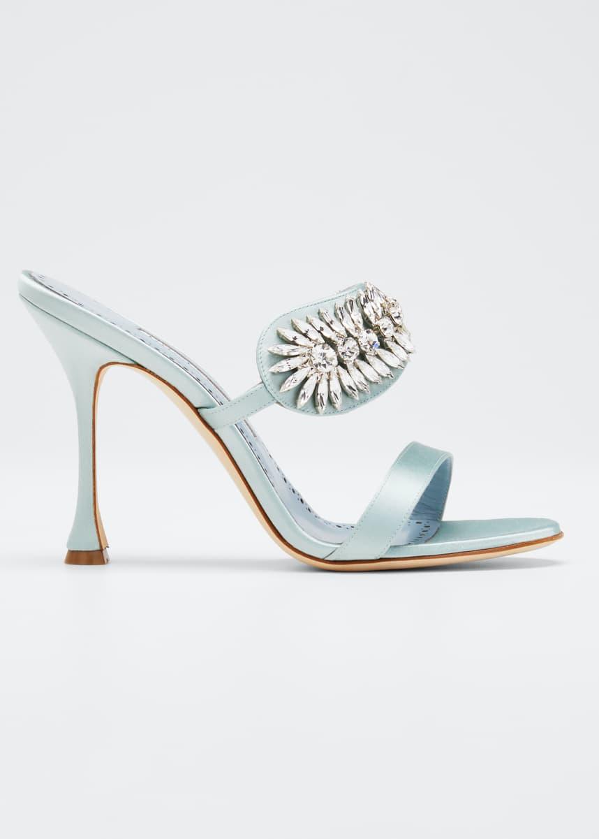 Manolo Blahnik Skysan Satin Crystal Sandals
