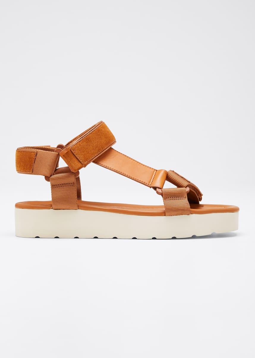Vince Carver Leather/Suede Flatform Sport-Strap Sandals