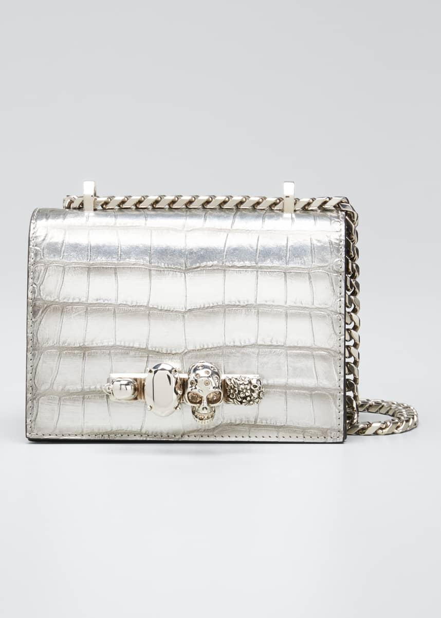 Alexander McQueen Small Jeweled Croc-Embossed Shoulder Bag