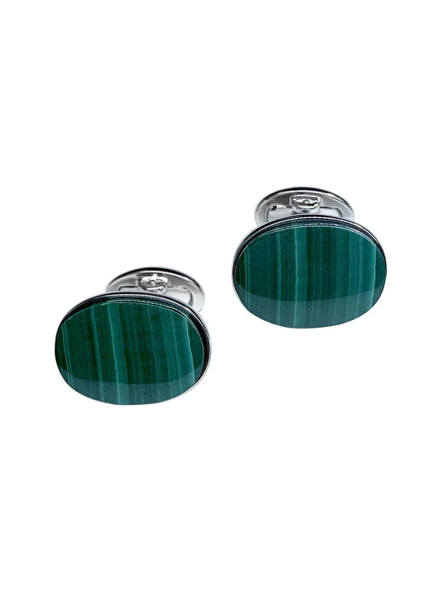Jan Leslie Men's Oval Malachite Cufflinks