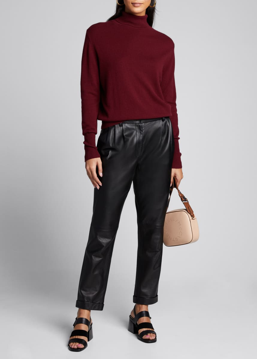 Nili Lotan Montana Leather Straight-Leg Pants