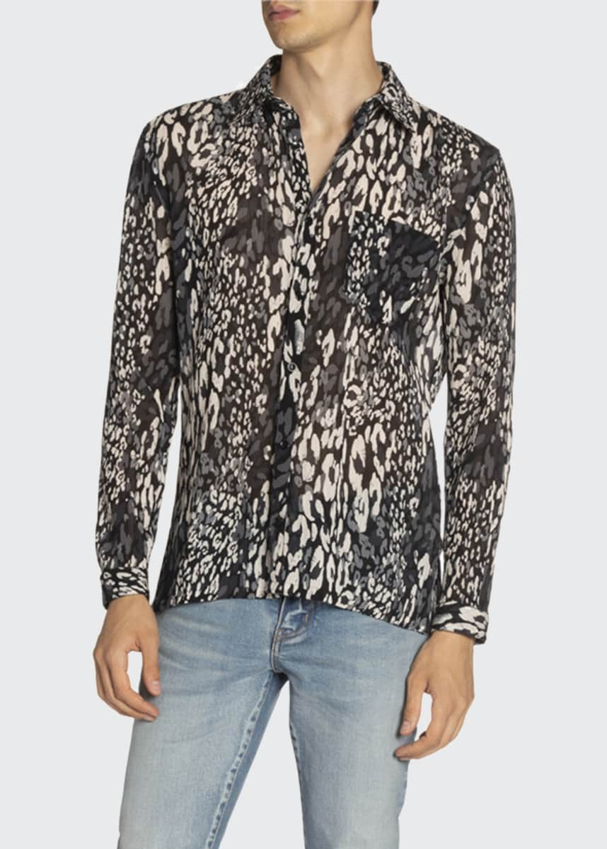 Saint Laurent Men's Palm Leaf-Print Short-Sleeve Sport Shirt