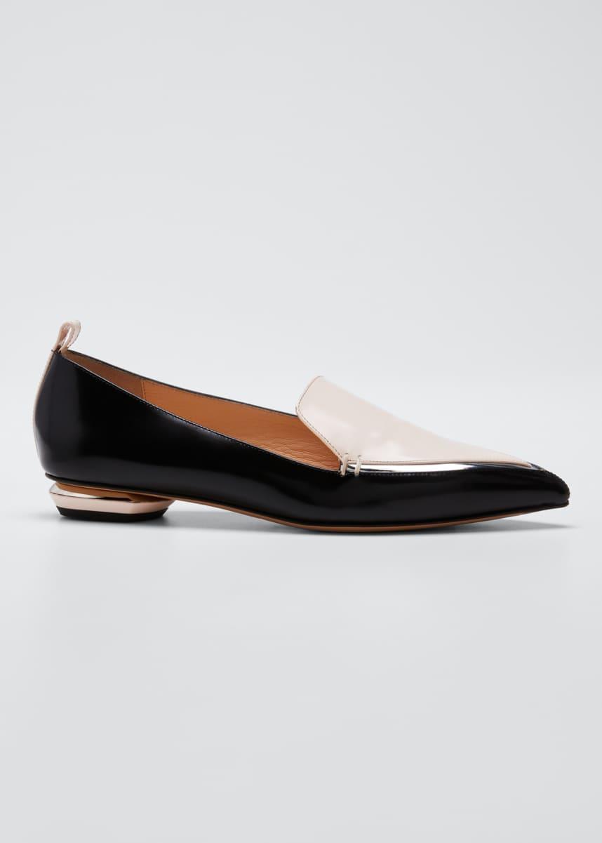 Nicholas Kirkwood Beya Two-Tone Leather Loafers, Black/Pink