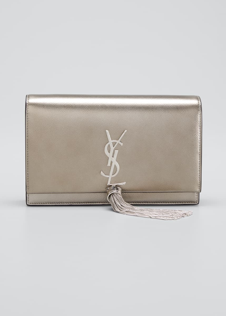 Saint Laurent Kate Monogram YSL Small Calf/Lamb Tassel Wallet on Chain