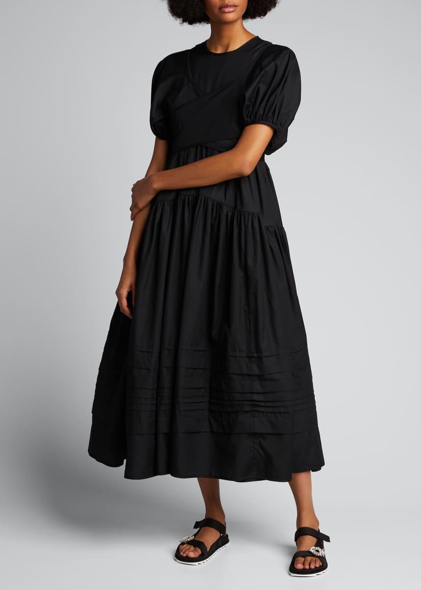Cecilie Bahnsen Elisa Puff-Sleeve V-Neck Maxi Dress