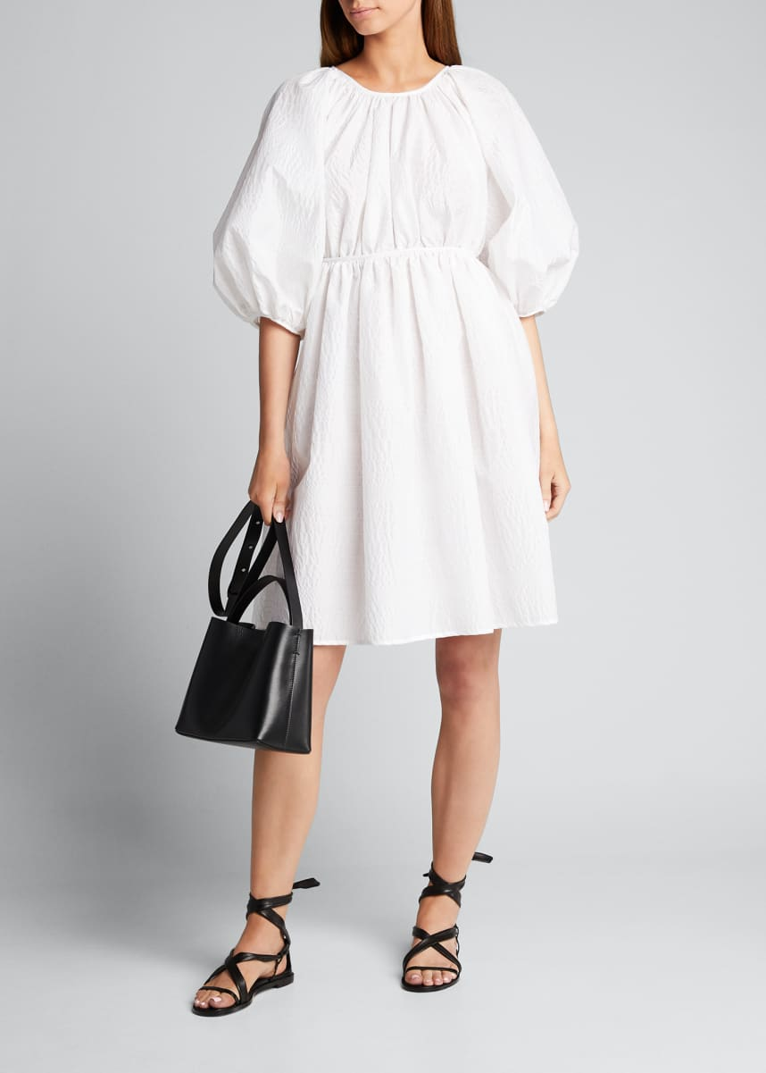 Cecilie Bahnsen Puff-Sleeve Crewneck A-Line Dress