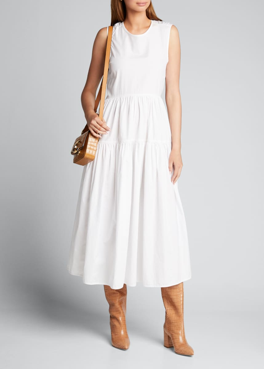 Cecilie Bahnsen Cotton-Tiered Tie-Back A-Line Midi Dress