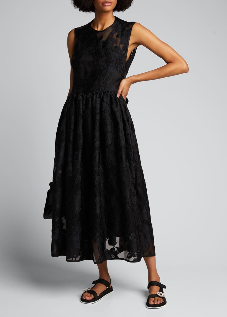 Cecilie Bahnsen Emma Floral Chiffon A-Line Dress