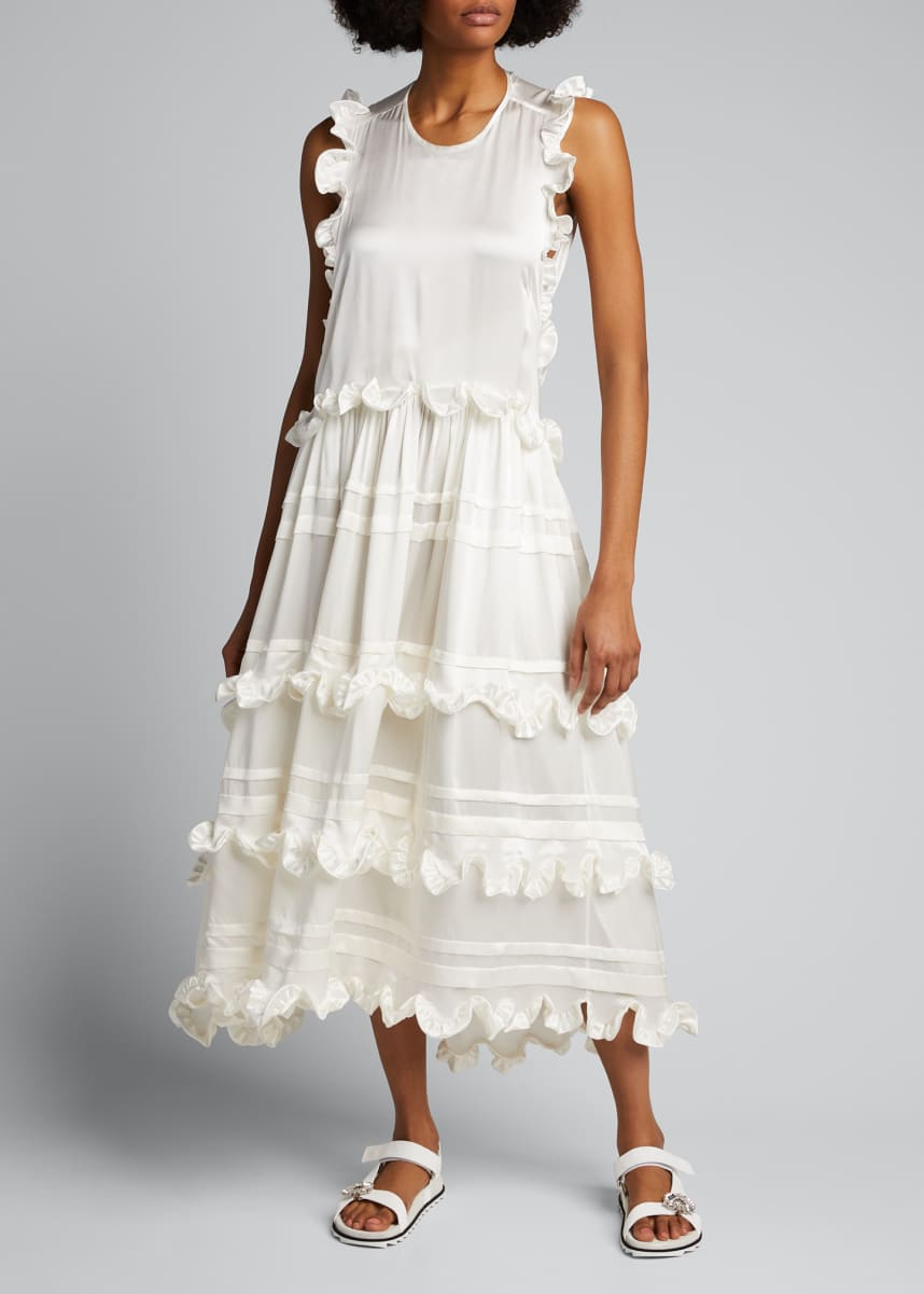 Cecilie Bahnsen Eileen Silk Wrap-Back Ruffle Dress