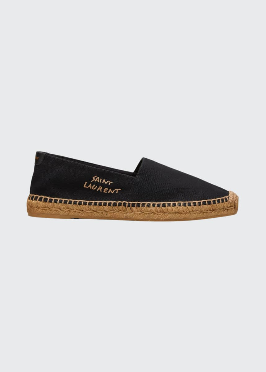 Saint Laurent Men's Logo-Stitched Canvas Espadrilles