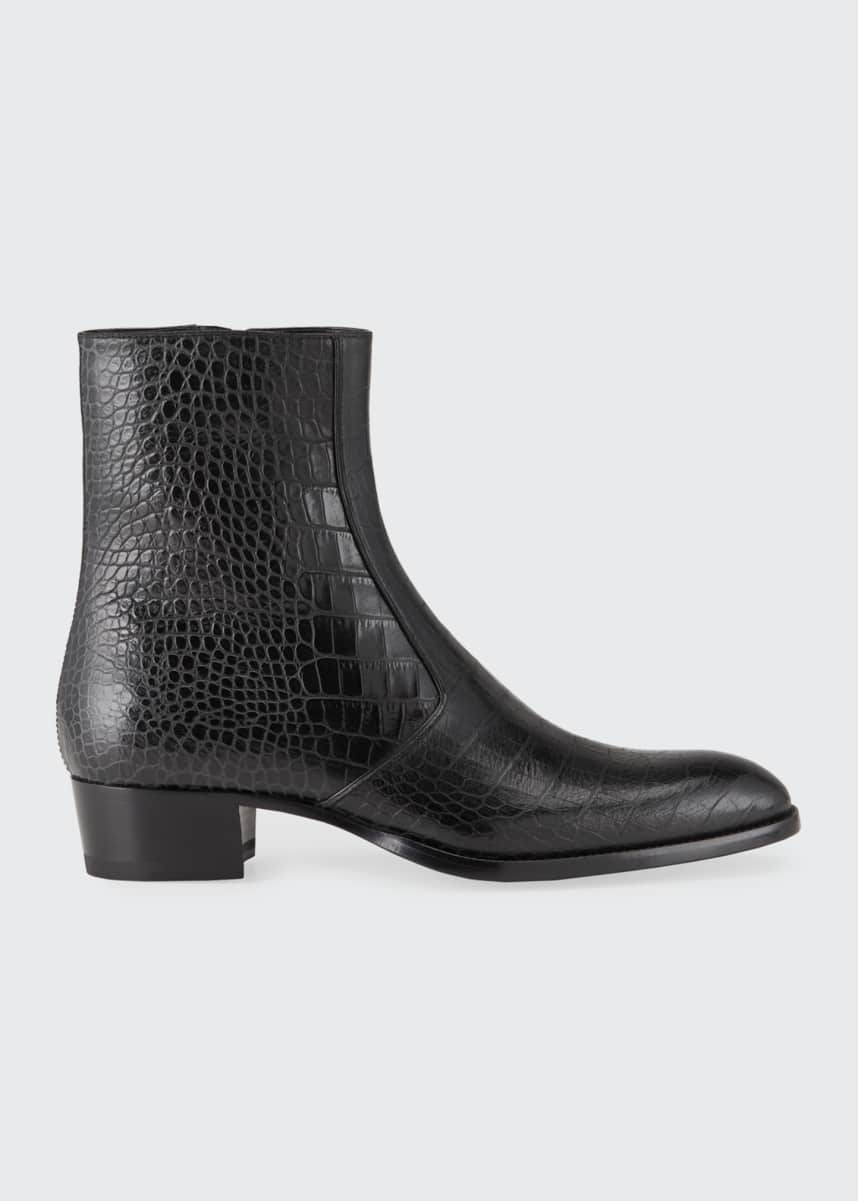 Saint Laurent Men's Wyatt Croc-Embossed Leather Side-Zip Boots