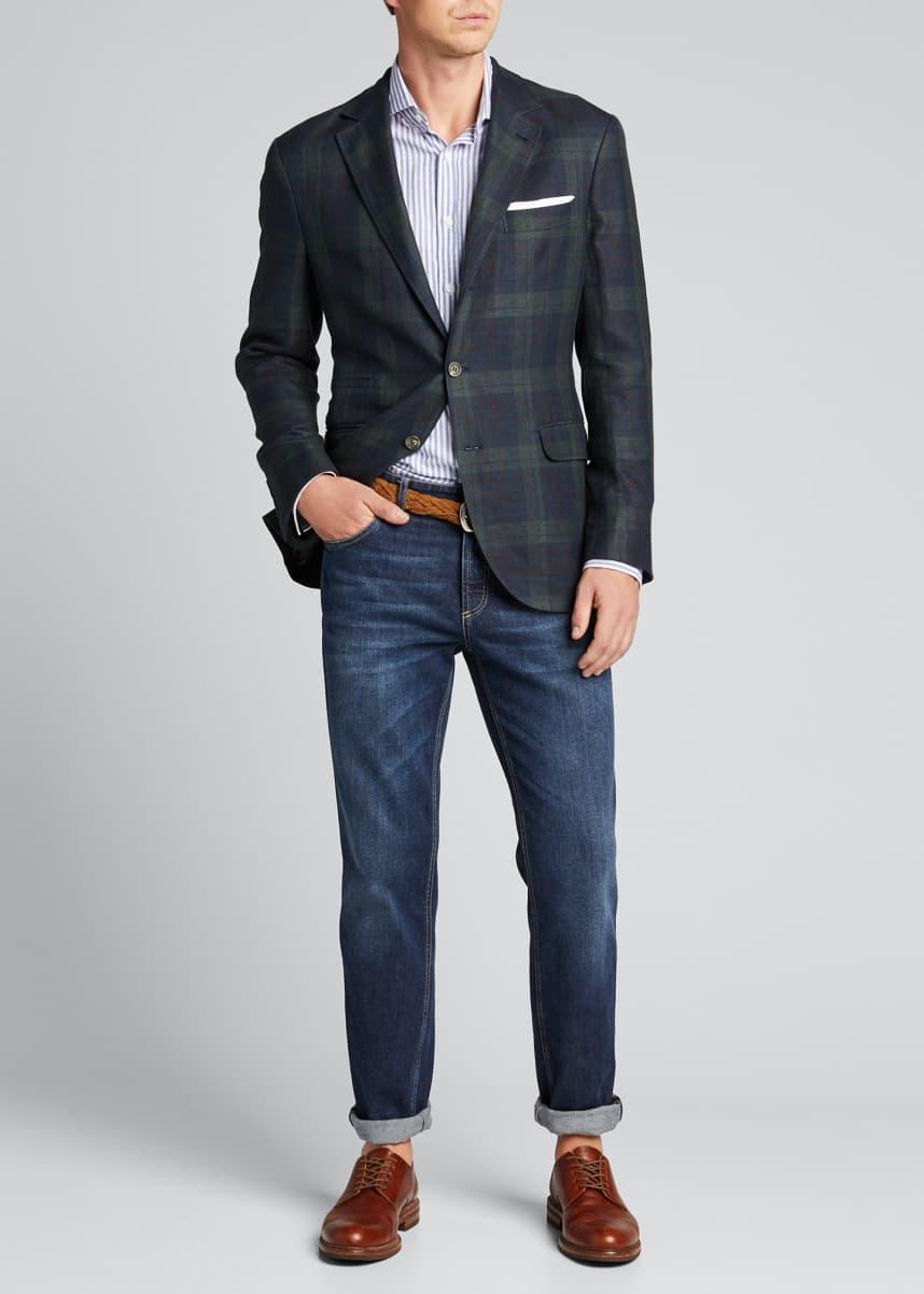 Brunello Cucinelli Men's Large Plaid Linen-Blend Sport Jacket