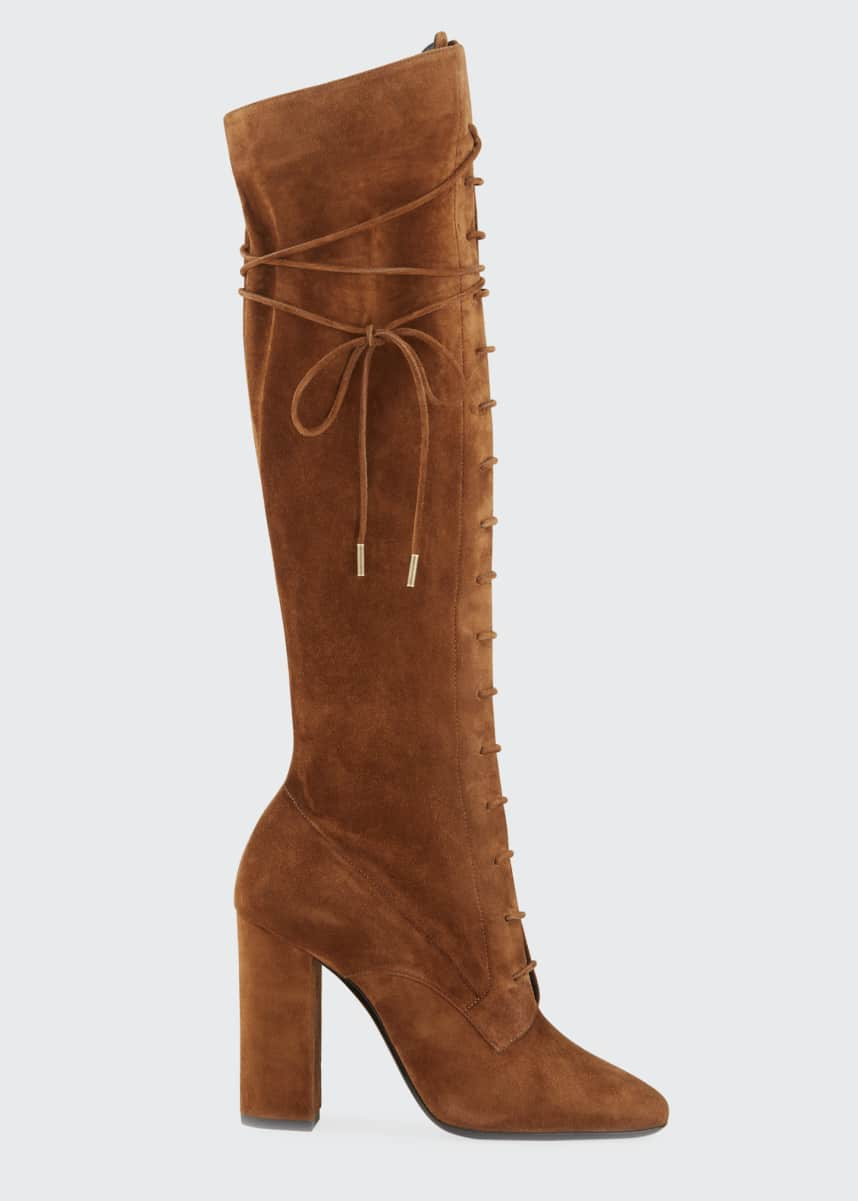 Saint Laurent Laura Lace-Up Suede Knee Boots