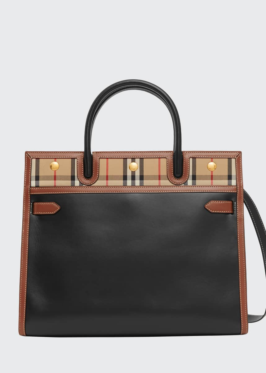 Burberry Title Large Double-Handle Smooth Leather Pocket Tote Bag