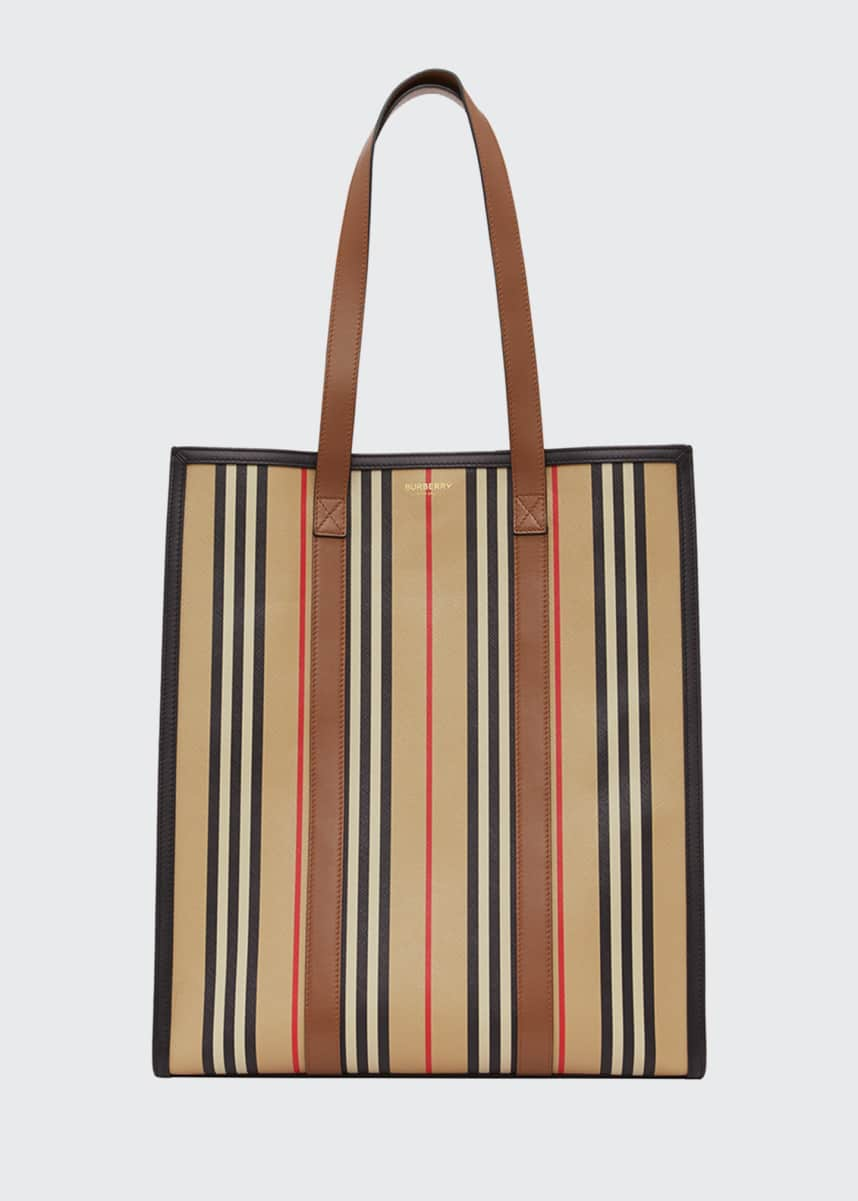 Burberry Large Stripe Canvas Tote Bag