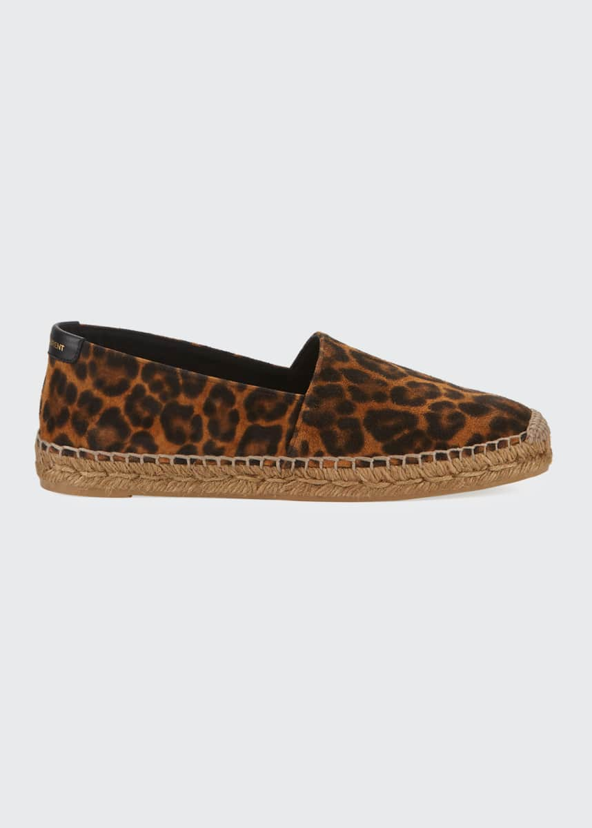 Saint Laurent Leopard-Print Slip-On Espadrilles