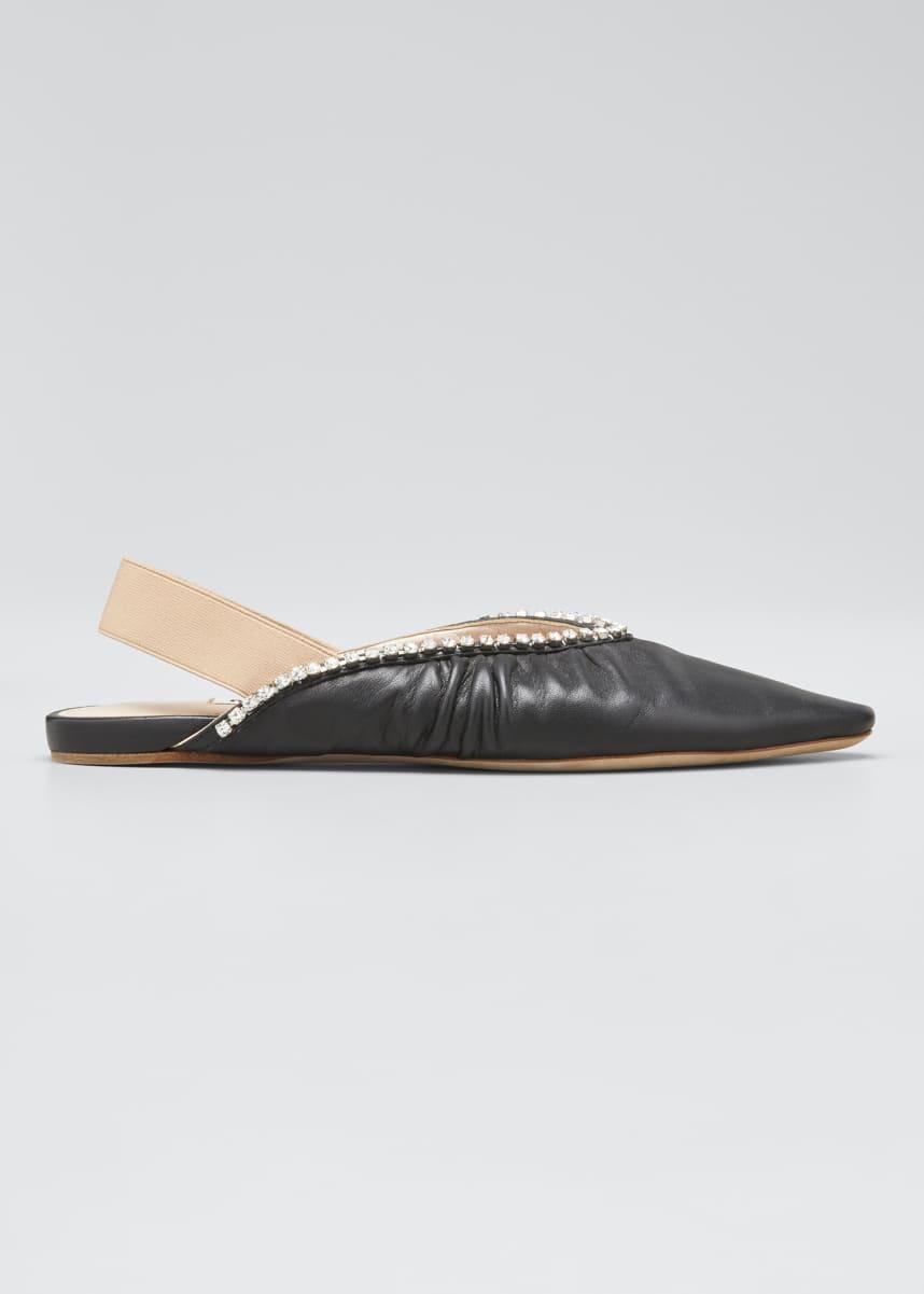 Miu Miu 5mm Leather Pointed-Toe Slingback Flats