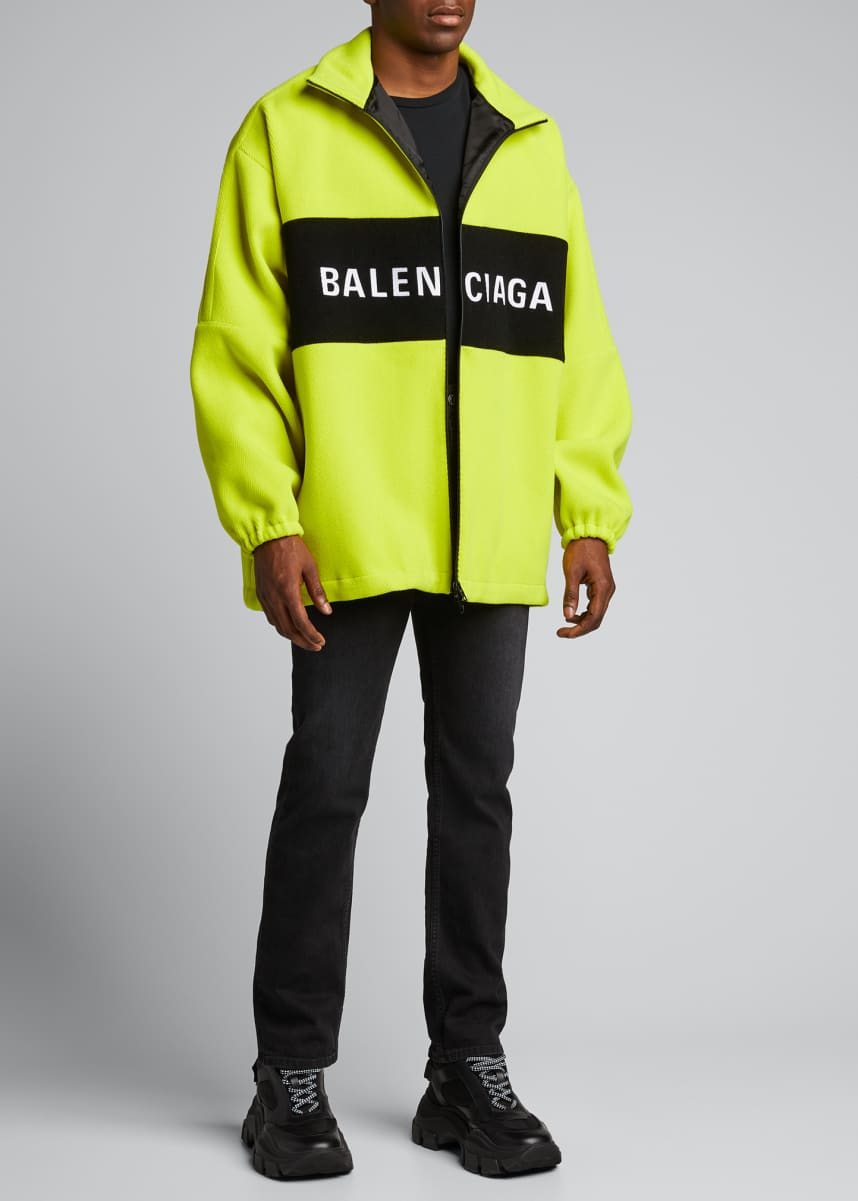 Balenciaga Men's Oversized Wool Zip-Front Jacket