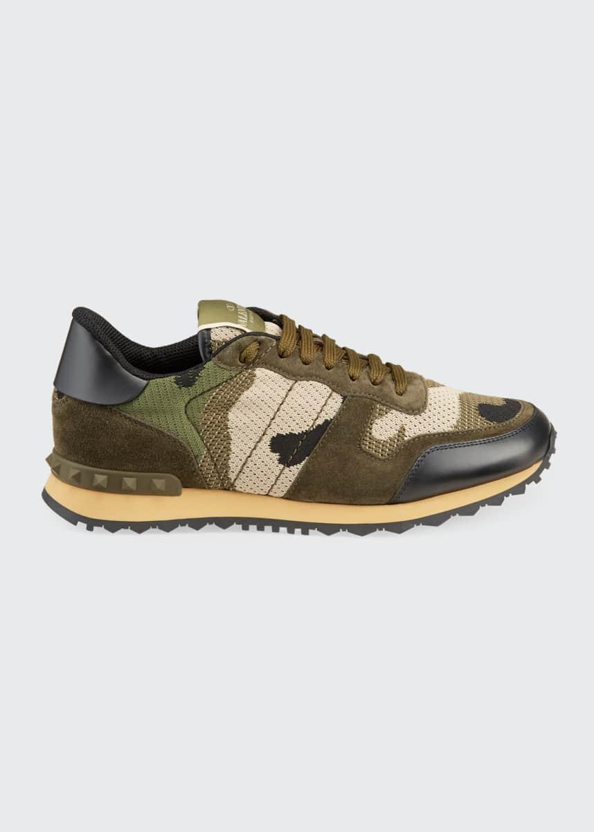 Valentino Men's Rockrunner Mixed-Media Camo Sneakers