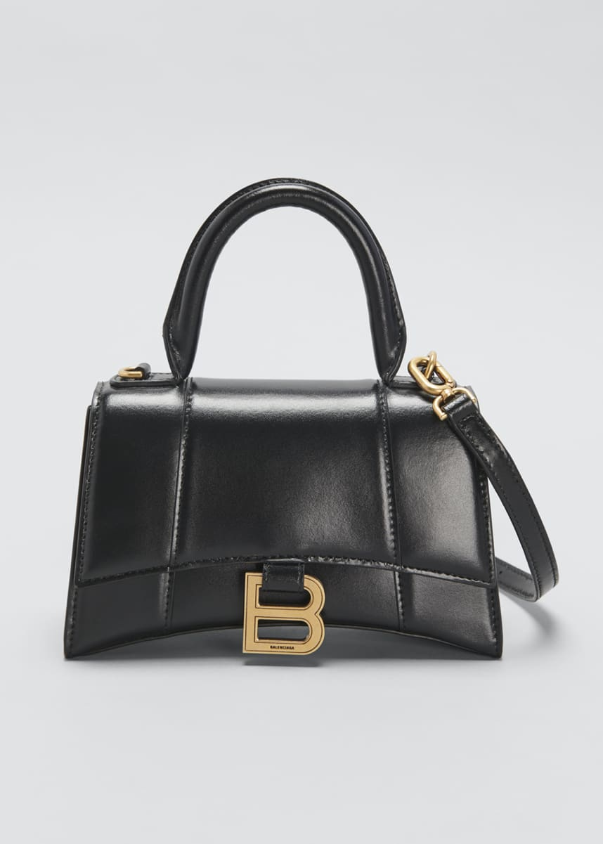 Balenciaga Hour XS Shiny Box Calf Top-Handle Bag