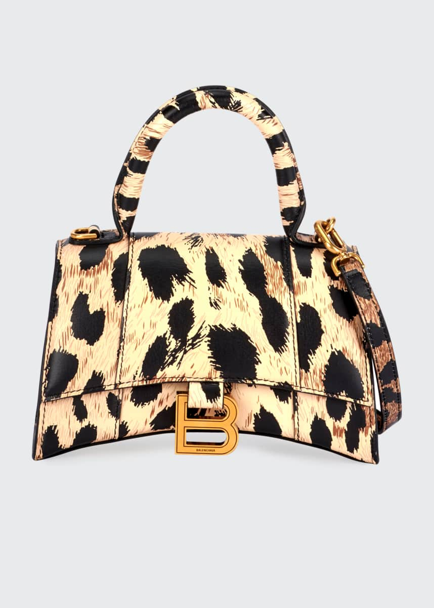 Balenciaga Hourglass XS Leopard-Print Leather Top-Handle Bag