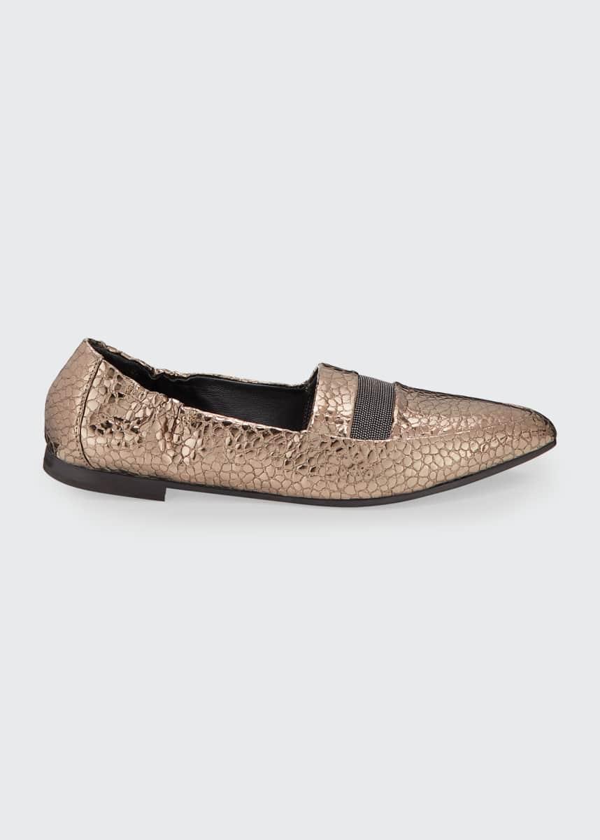 Brunello Cucinelli Metallic Texture Monili Ballet Flats
