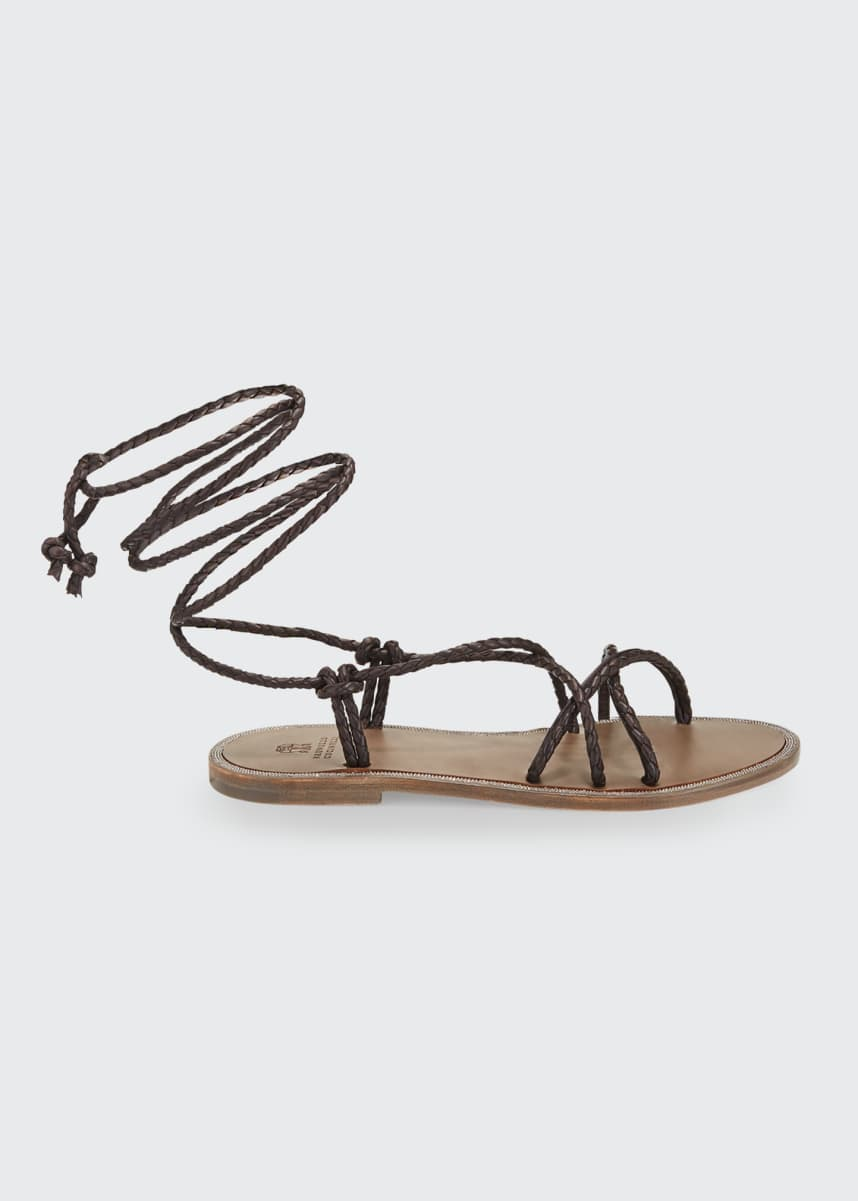 Brunello Cucinelli Braided Leather Wrap Sandals