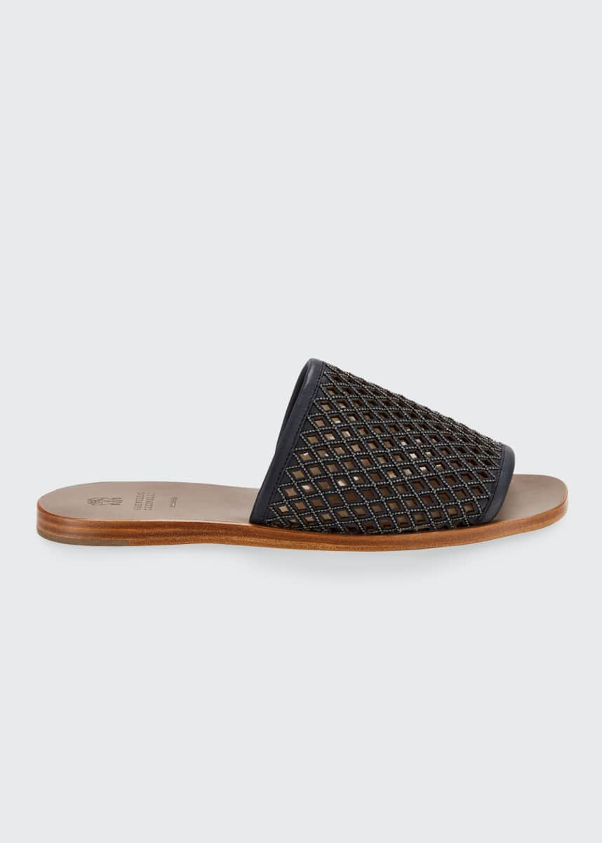 Brunello Cucinelli Leather Net Slide Sandals