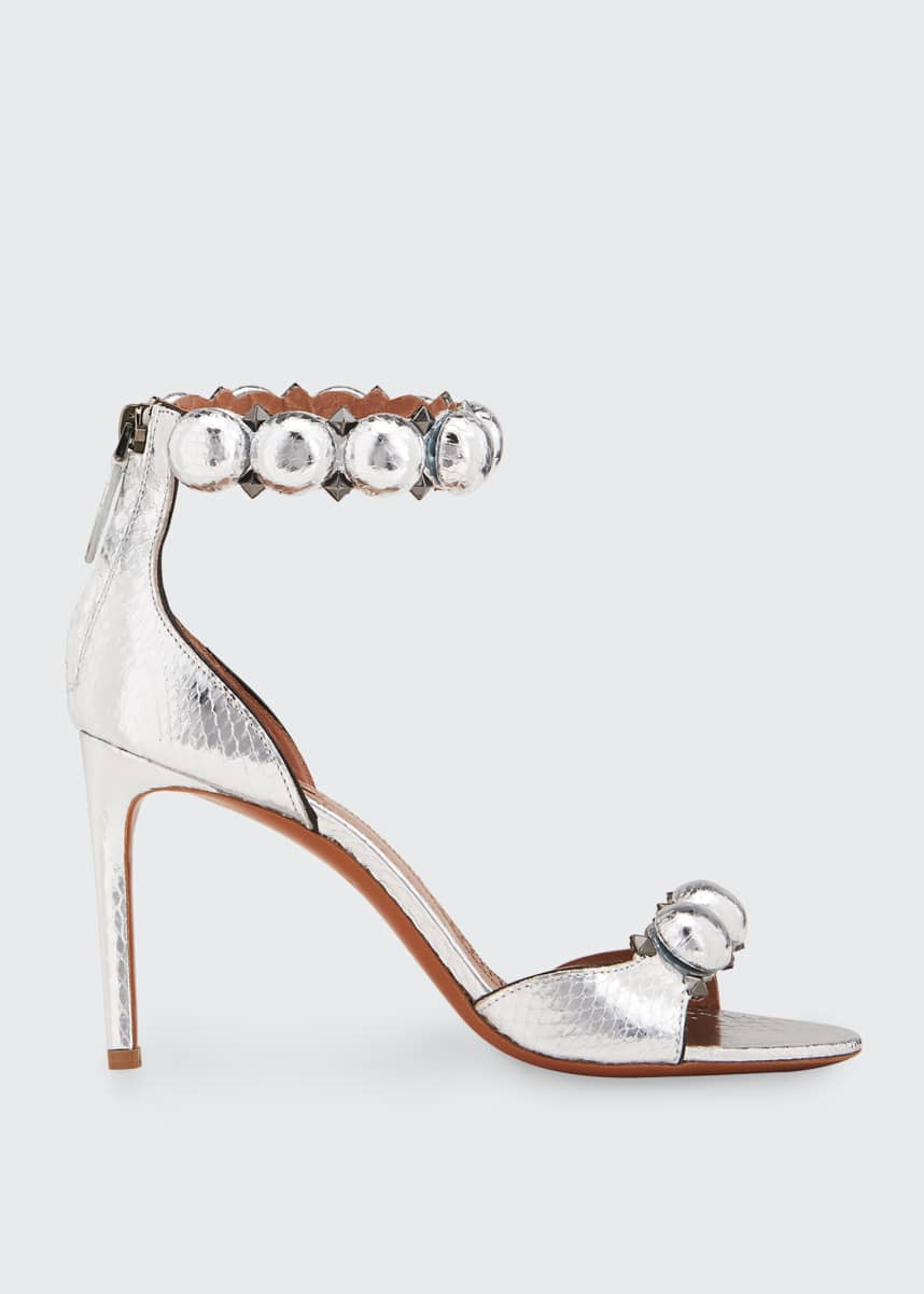 ALAIA Bombe Stud Snakeskin Ankle-Wrap Sandals