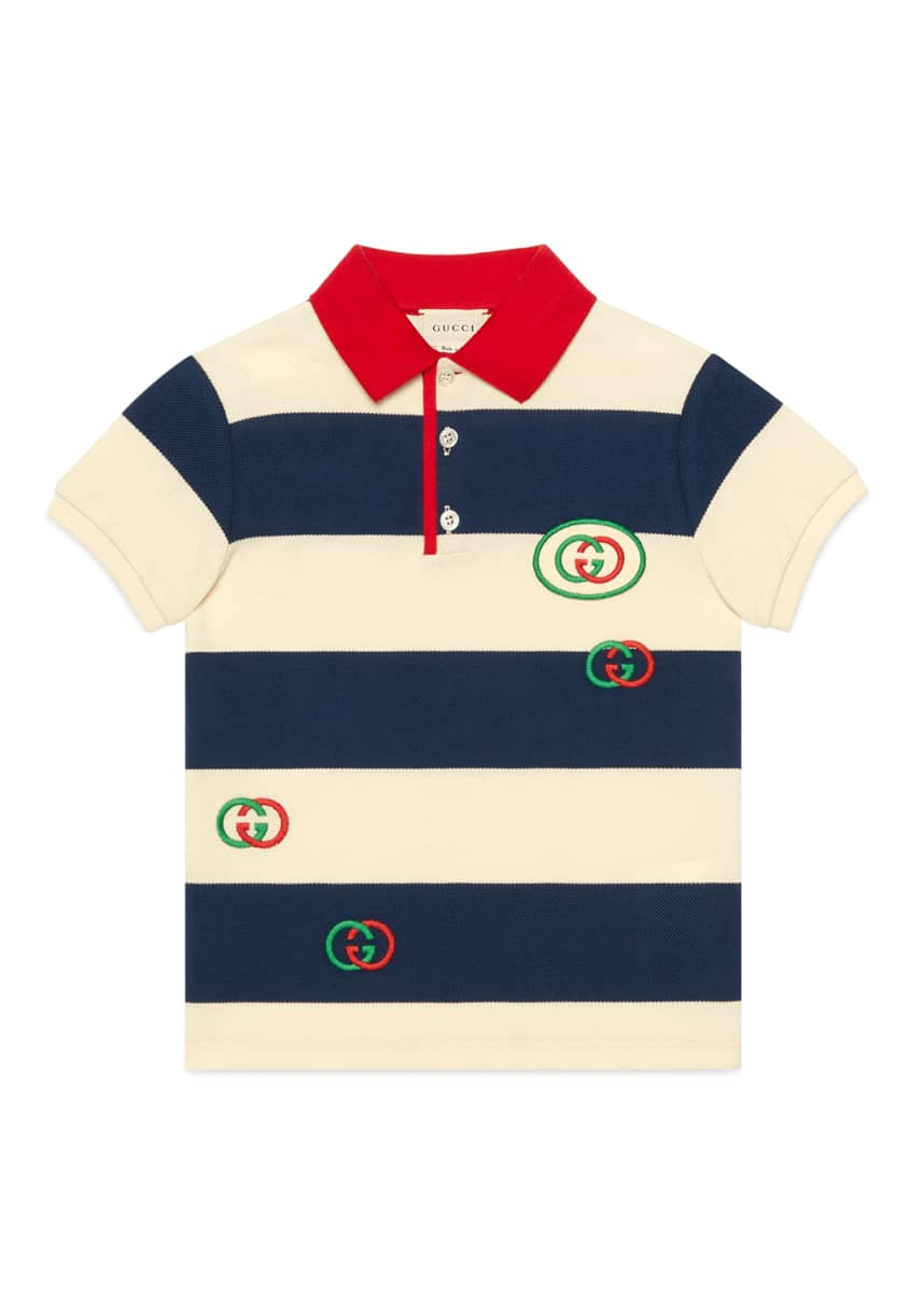 Gucci Boy's Striped Polo Shirt with Interlocking G Patch, Size 4-12